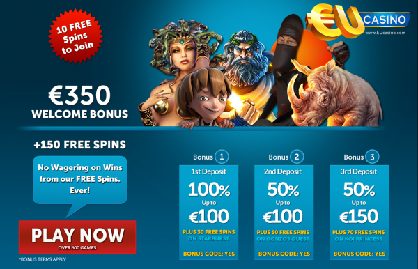 BONUS CODE: YES  Regular Bonus: €350 First Deposit: €100 First Deposit Match: 100% Minimum Deposit: €20 No Deposit Bonus: €150